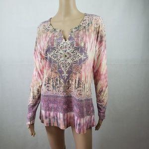 🔴SALE🔴 Kiara Pink Long Sleeve Print Sweater XL